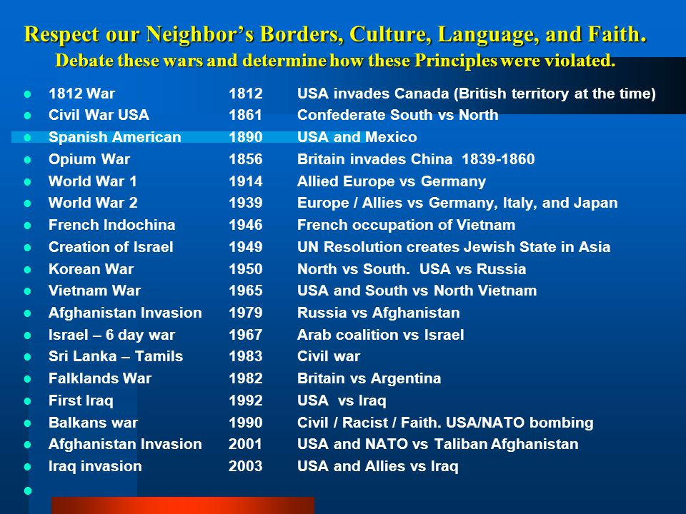Respect our Neighbor's Borders, Culture, Language, and Faith