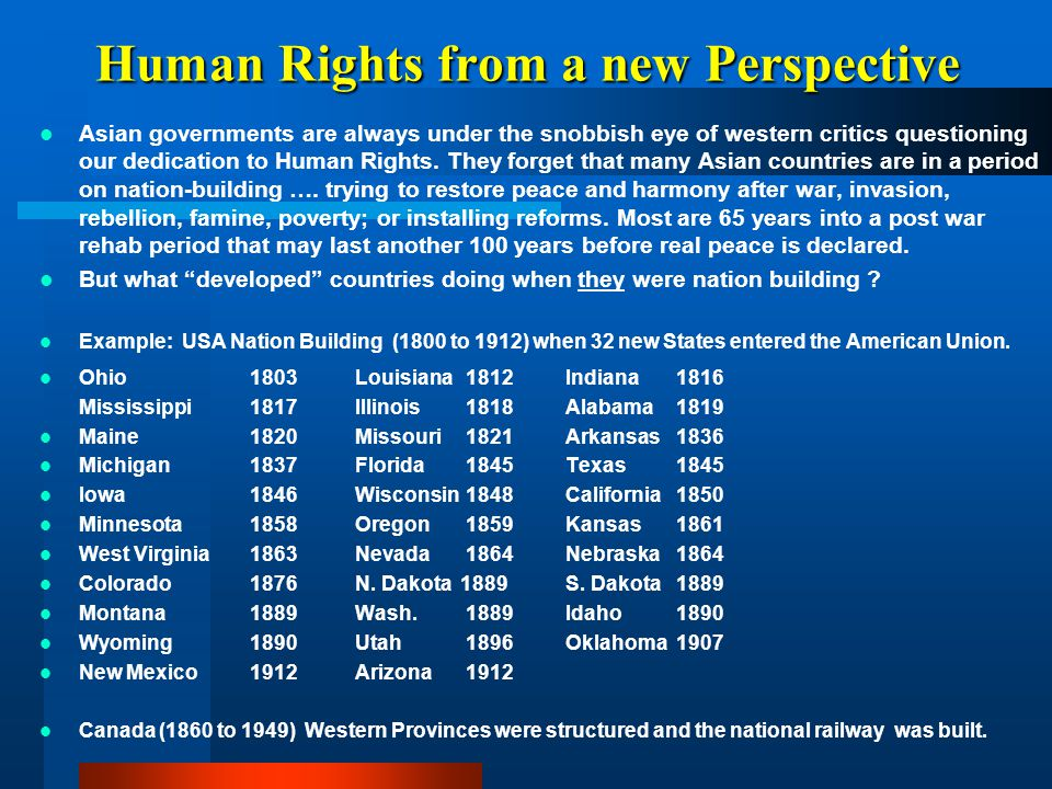 Human Rights from a new Perspective