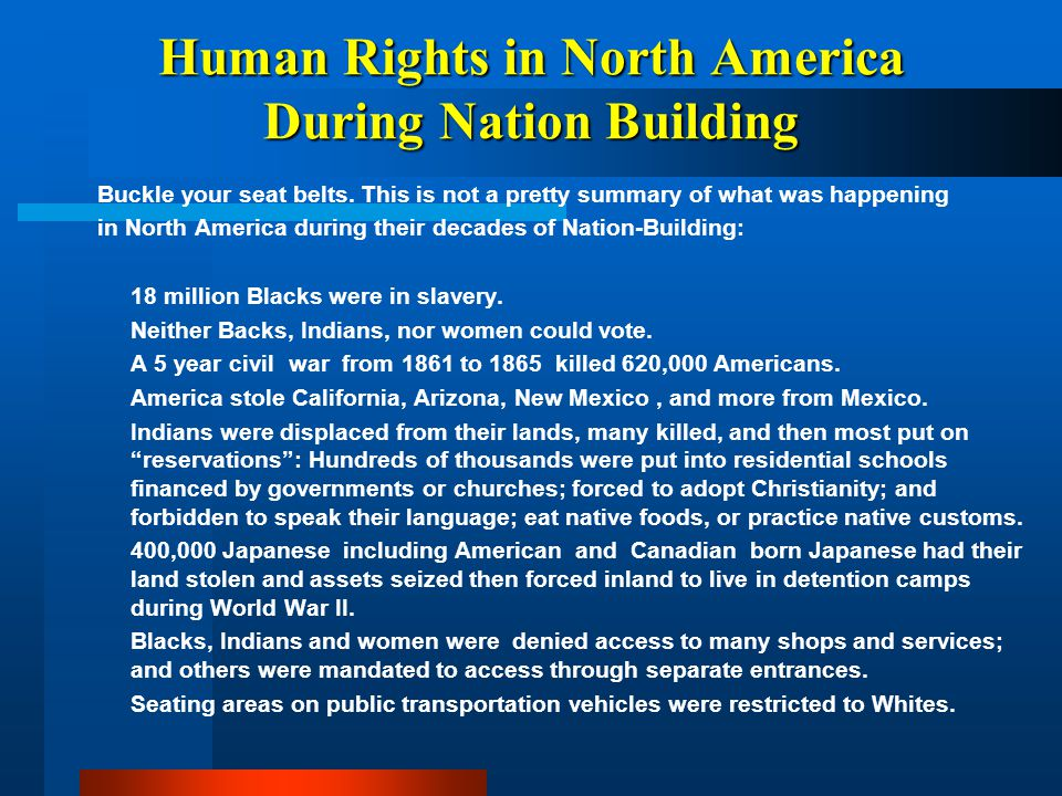 Human Rights in North America During Nation Building