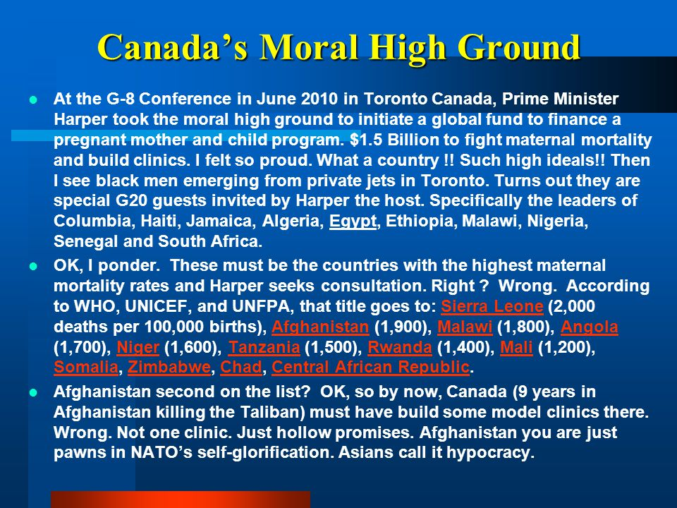 Canada's Moral High Ground