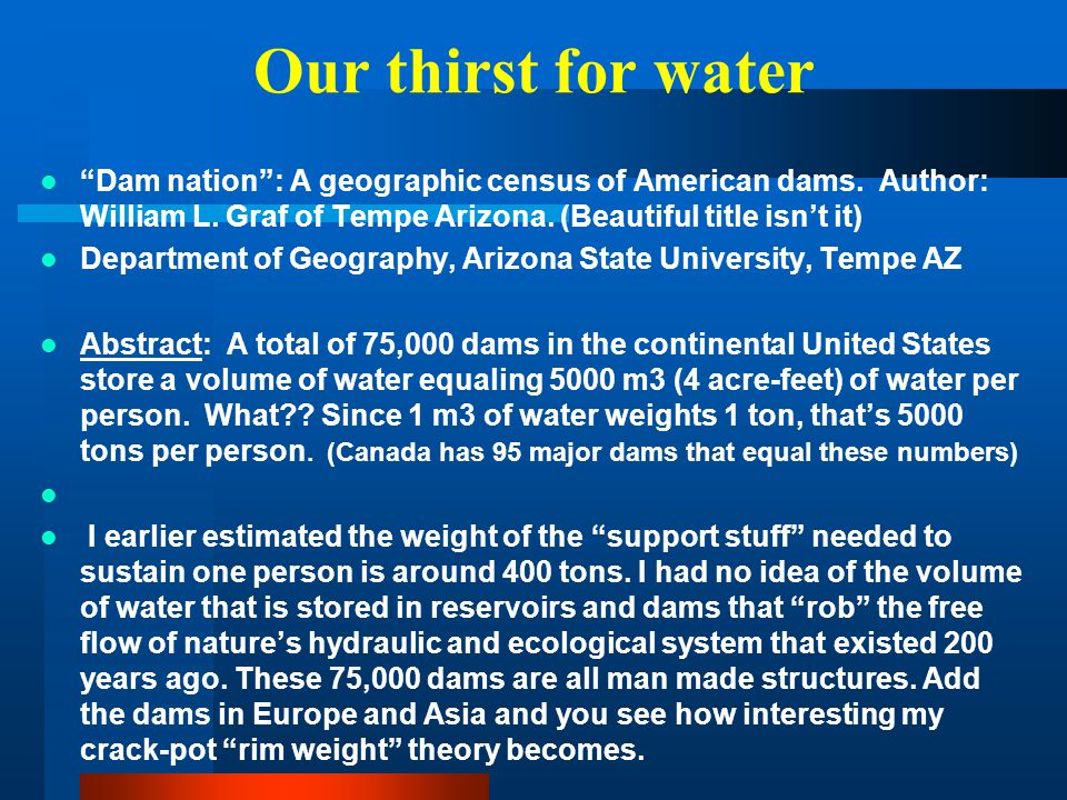 Our thirst for water Dam nation : A geographic census of American dams. Author: William L. Graf of Tempe Arizona. (Beautiful title isn't it)