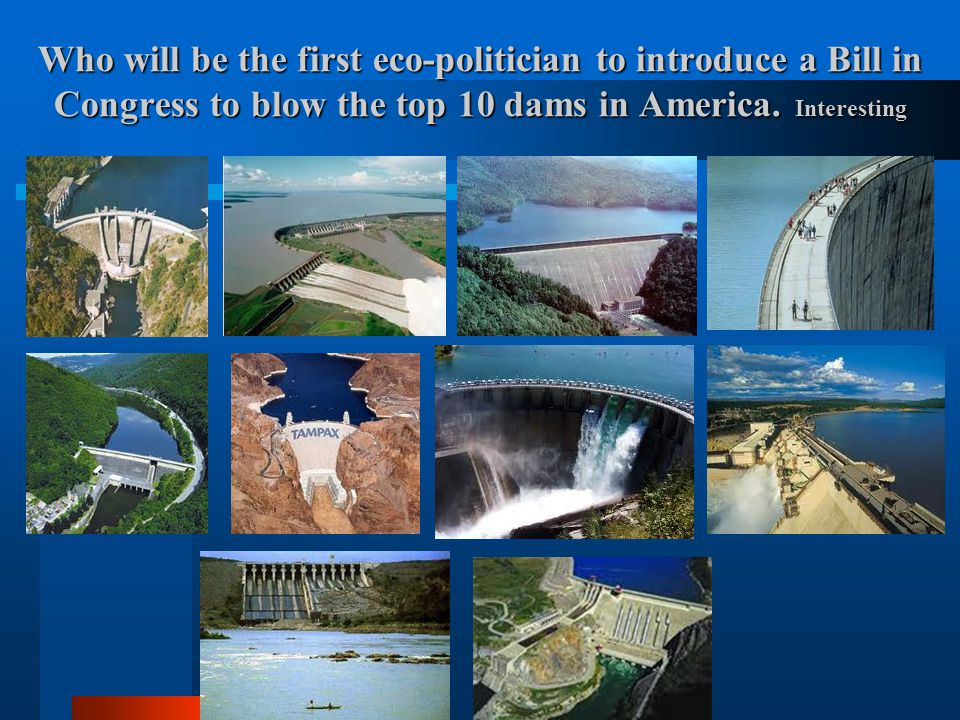 Who will be the first eco-politician to introduce a Bill in Congress to blow the top 10 dams in America.
