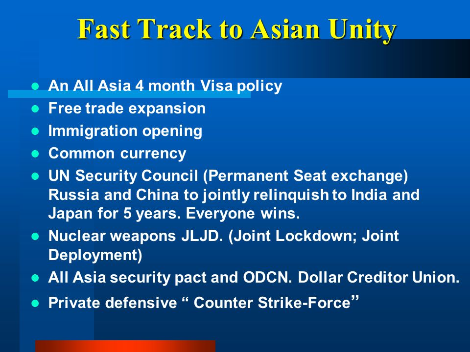 Fast Track to Asian Unity