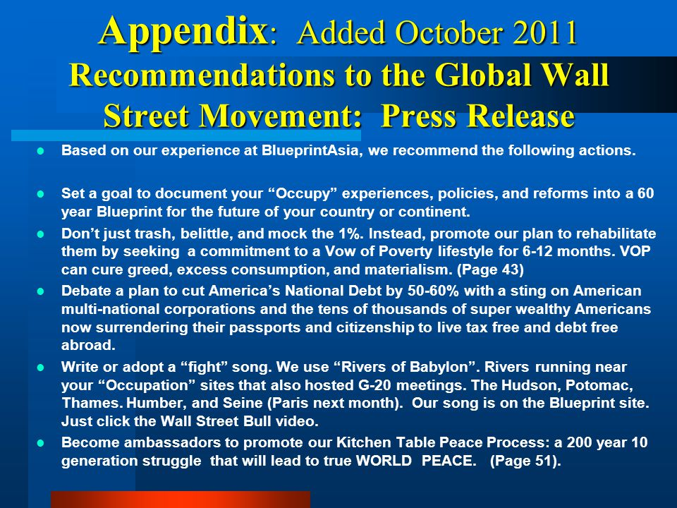Appendix: Added October 2011 Recommendations to the Global Wall Street Movement: Press Release