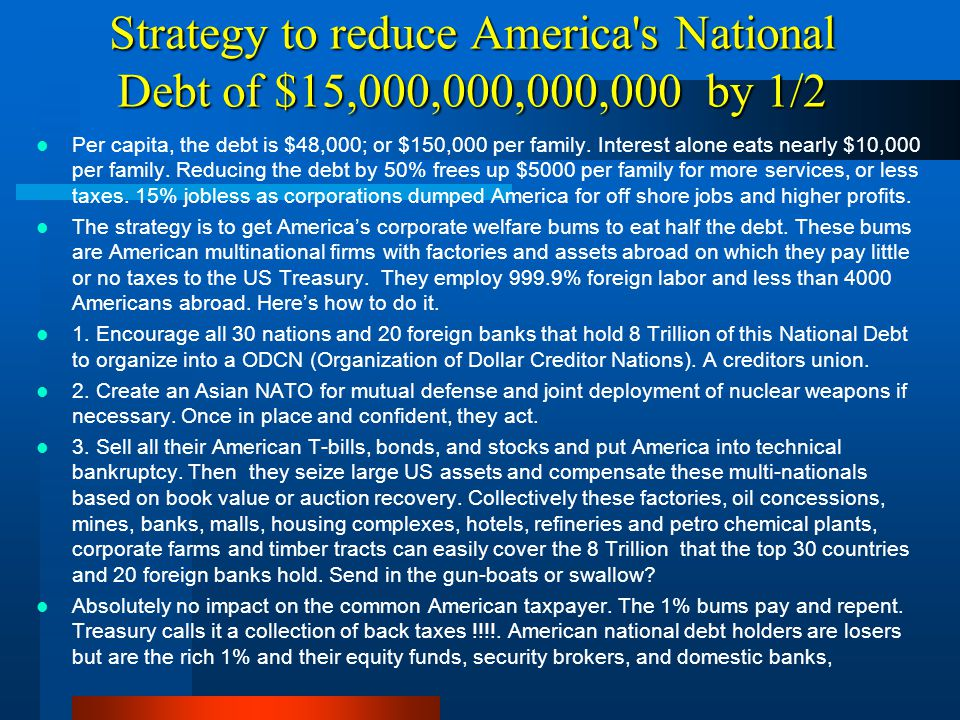 Strategy to reduce America s National Debt of $15,000,000,000,000 by 1/2