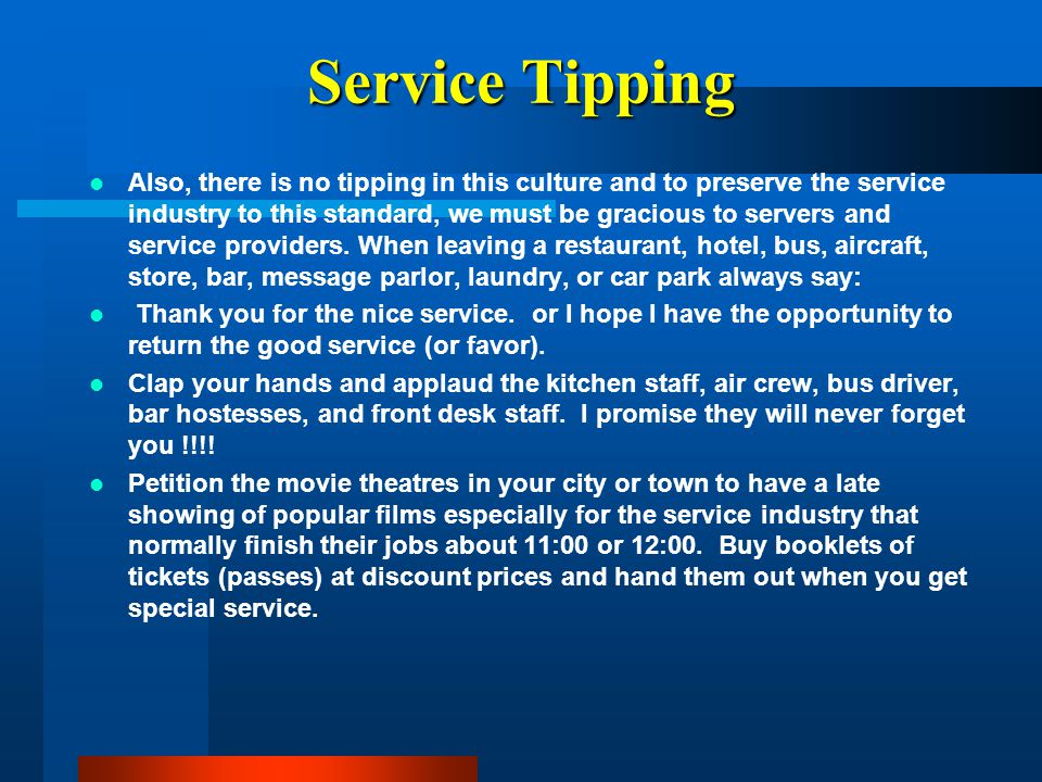 Service Tipping