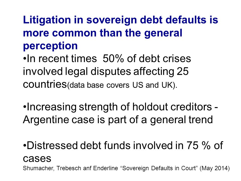 Distressed debt funds involved in 75 % of cases