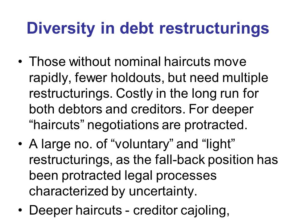 Diversity in debt restructurings