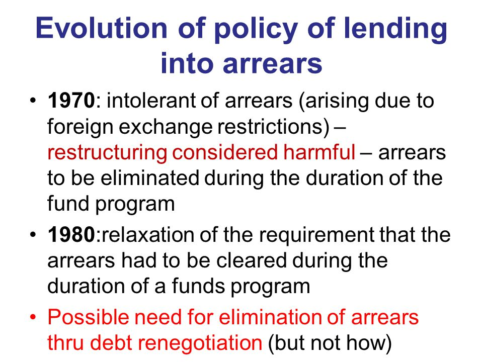 Evolution of policy of lending into arrears