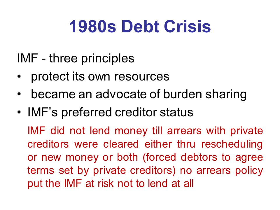 1980s Debt Crisis IMF - three principles protect its own resources