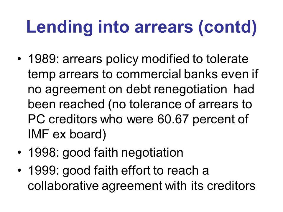 Lending into arrears (contd)
