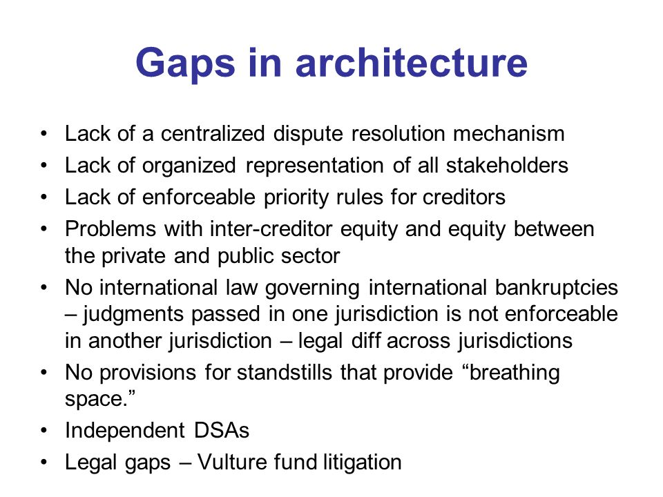 Gaps in architecture Lack of a centralized dispute resolution mechanism. Lack of organized representation of all stakeholders.