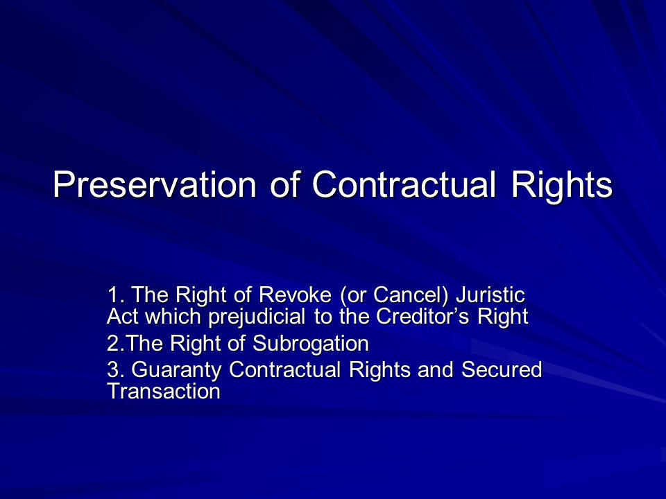 Preservation of Contractual Rights