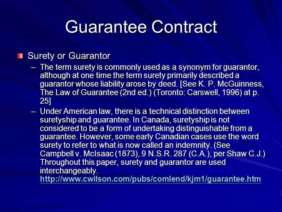 Guarantee Contract Surety or Guarantor