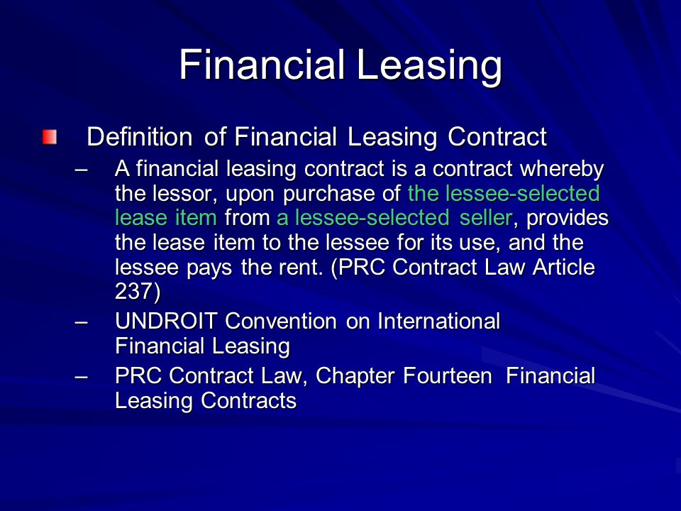 Financial Leasing Definition of Financial Leasing Contract