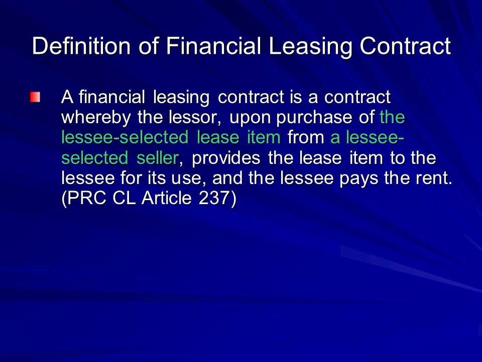 Definition of Financial Leasing Contract