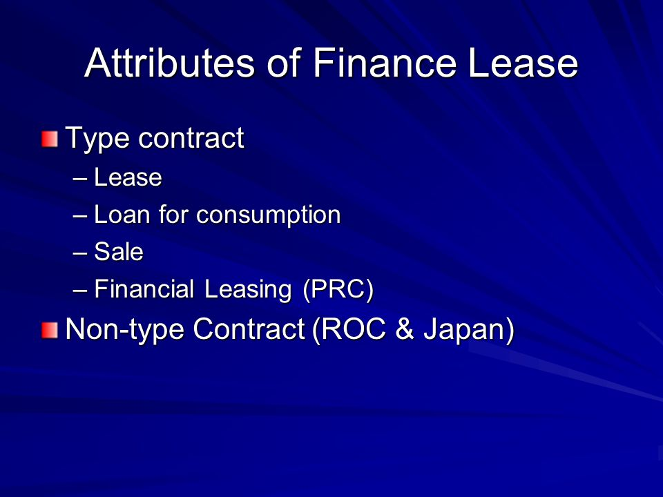 Attributes of Finance Lease