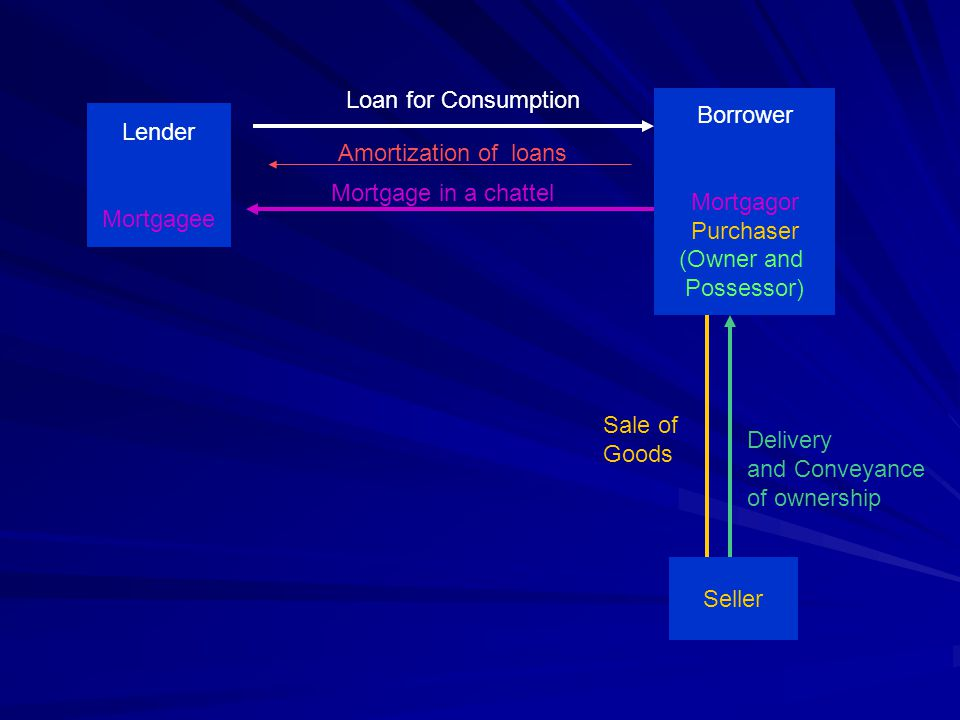 Loan for Consumption Borrower. Mortgagor. Purchaser. (Owner and. Possessor) Lender. Mortgagee.