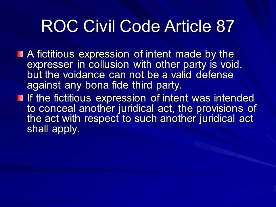 ROC Civil Code Article 87