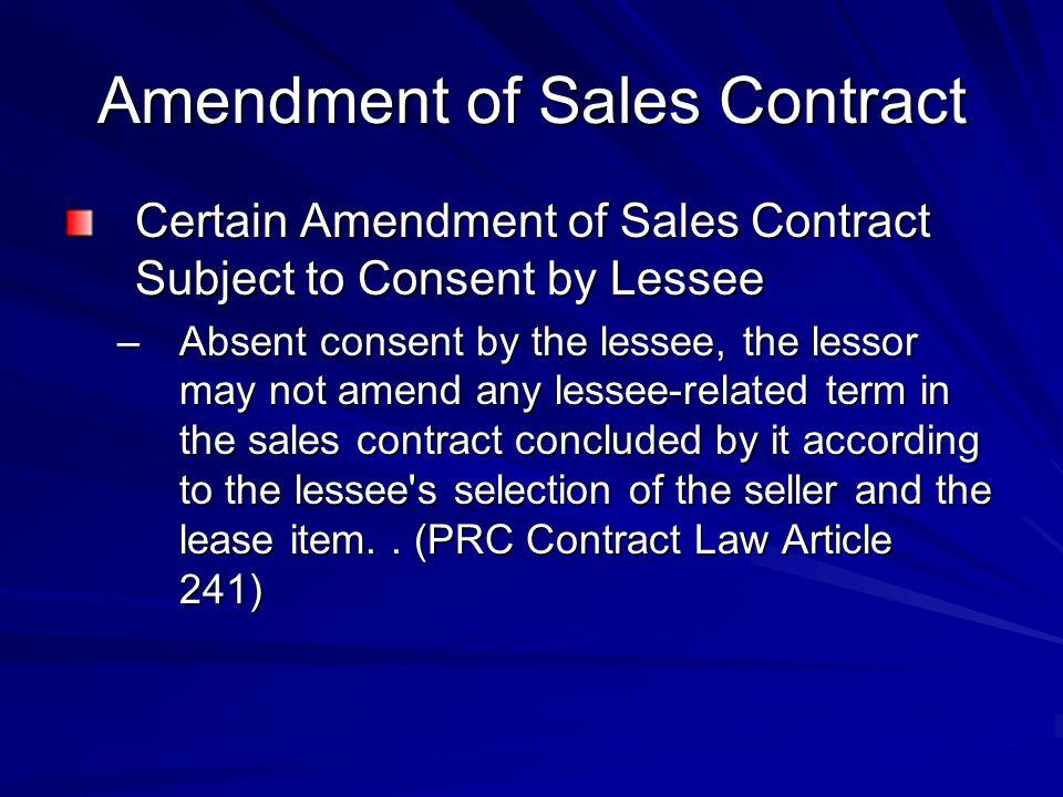 Amendment of Sales Contract