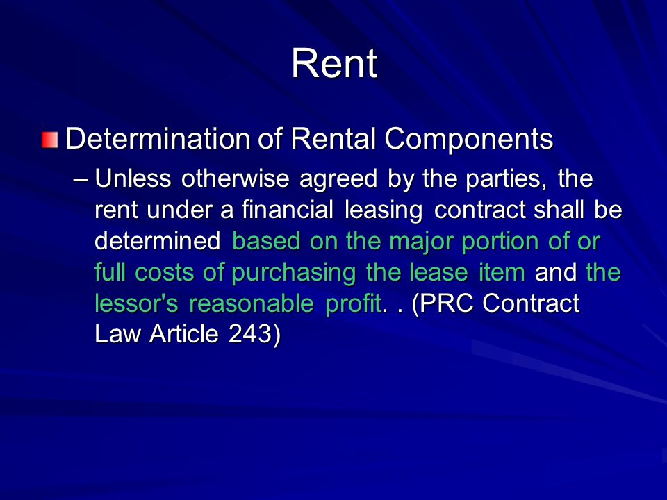 Rent Determination of Rental Components