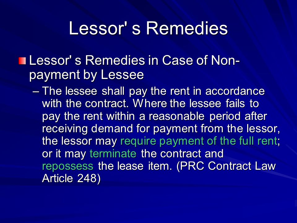 Lessor s Remedies Lessor s Remedies in Case of Non-payment by Lessee