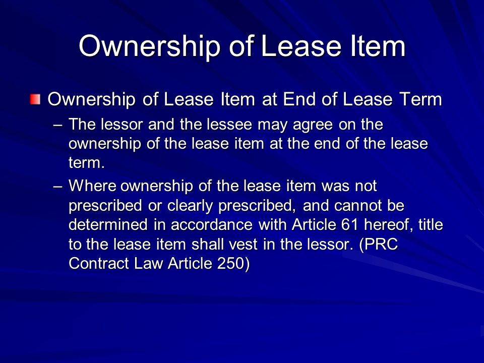 Ownership of Lease Item