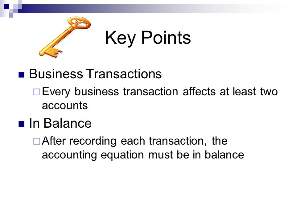 Key Points Business Transactions In Balance