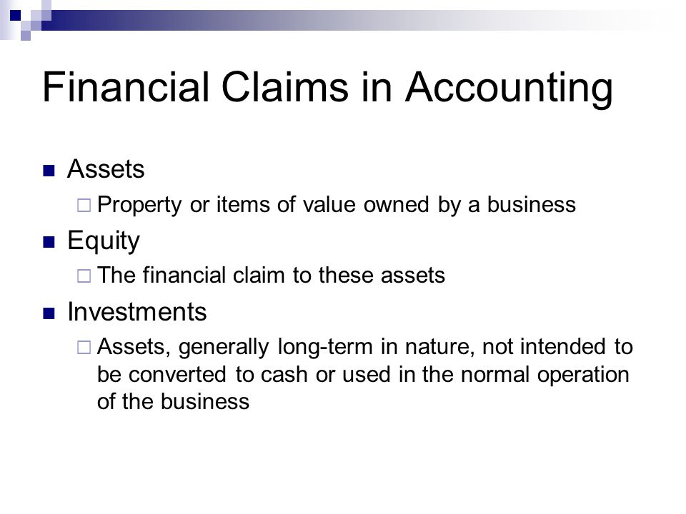 Financial Claims in Accounting
