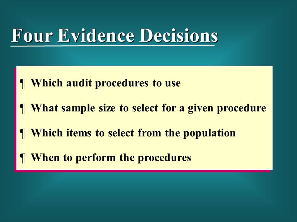 Four Evidence Decisions
