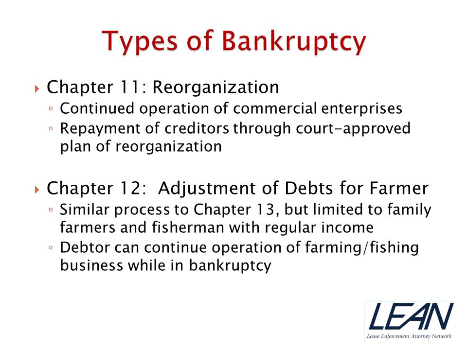 Types of Bankruptcy Chapter 11: Reorganization