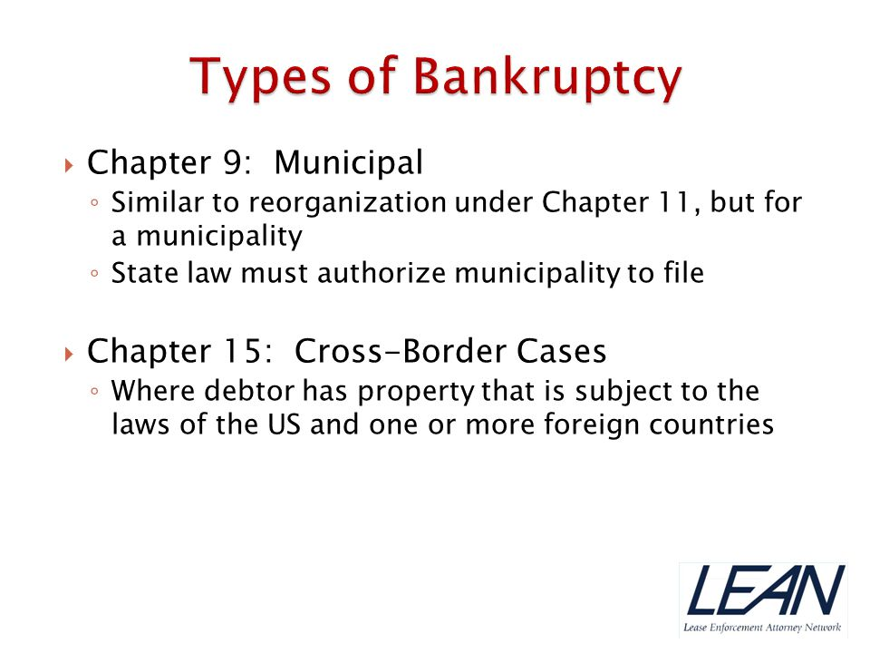 Types of Bankruptcy Chapter 9: Municipal