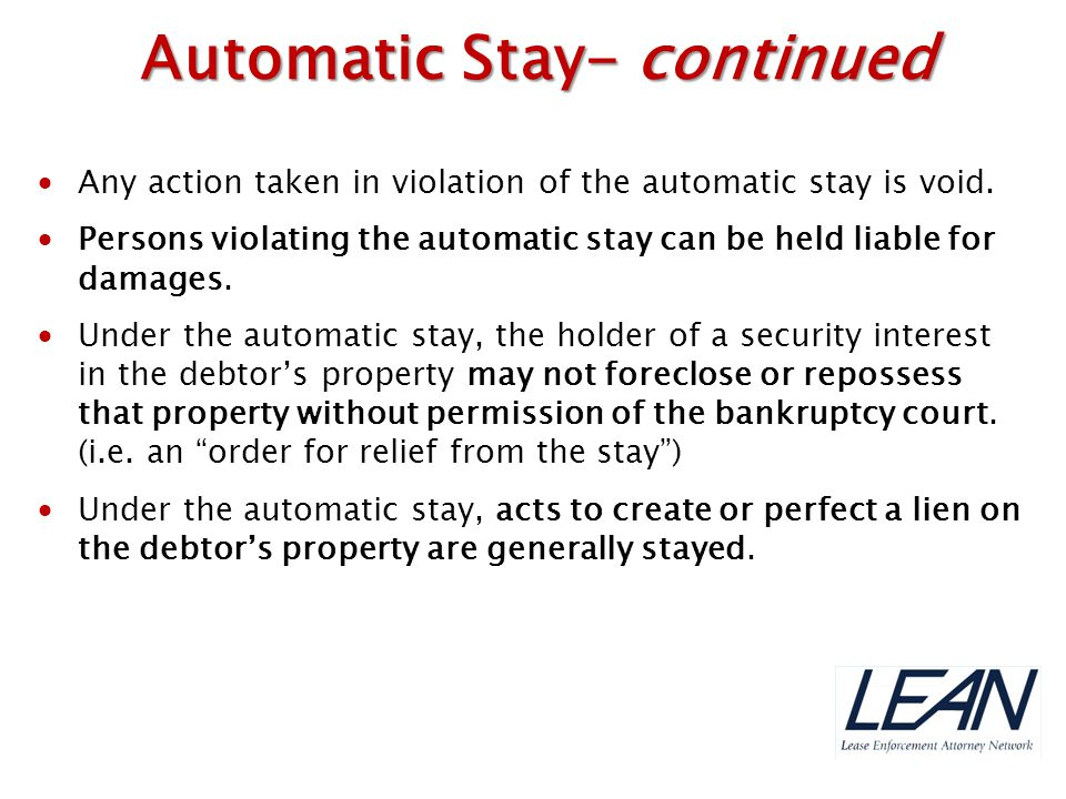 Automatic Stay- continued