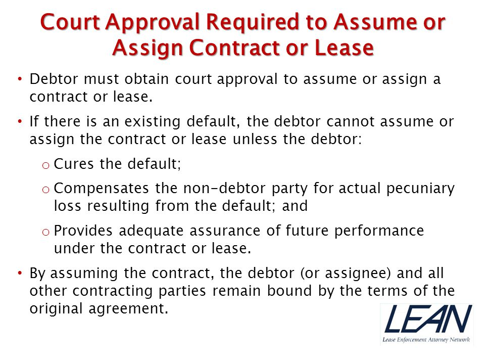 Court Approval Required to Assume or Assign Contract or Lease