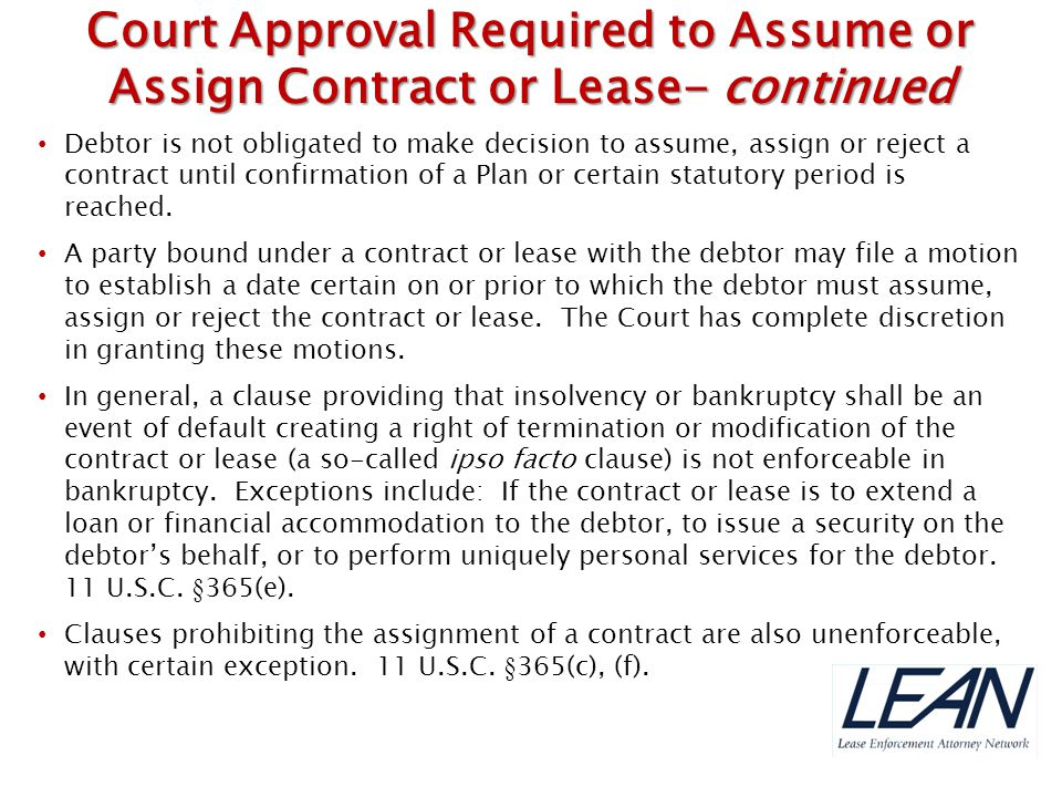 Court Approval Required to Assume or Assign Contract or Lease- continued