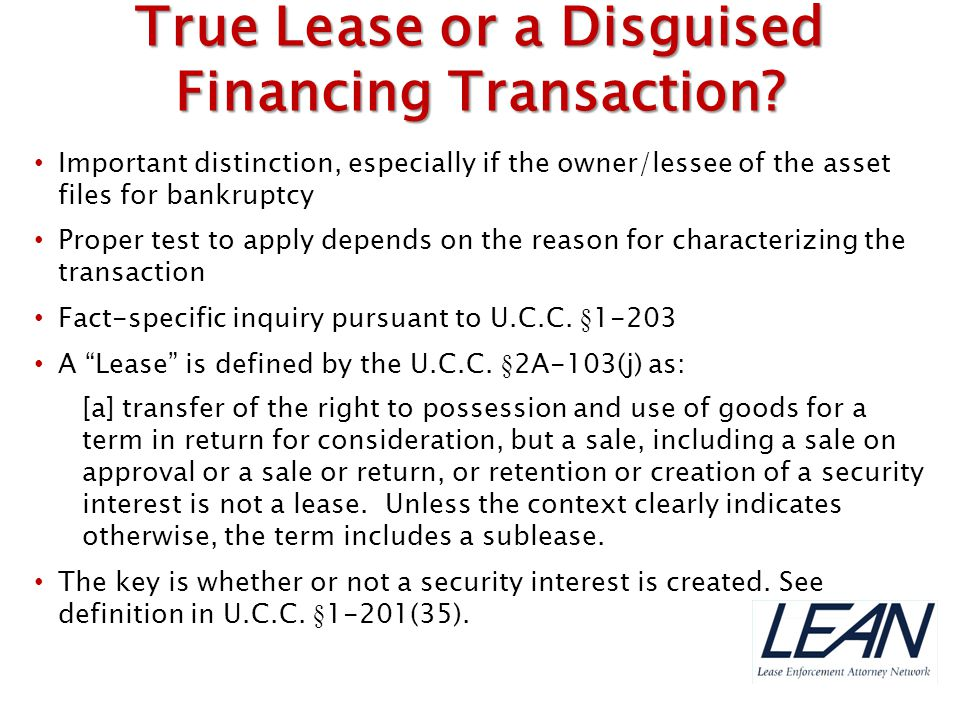 True Lease or a Disguised Financing Transaction
