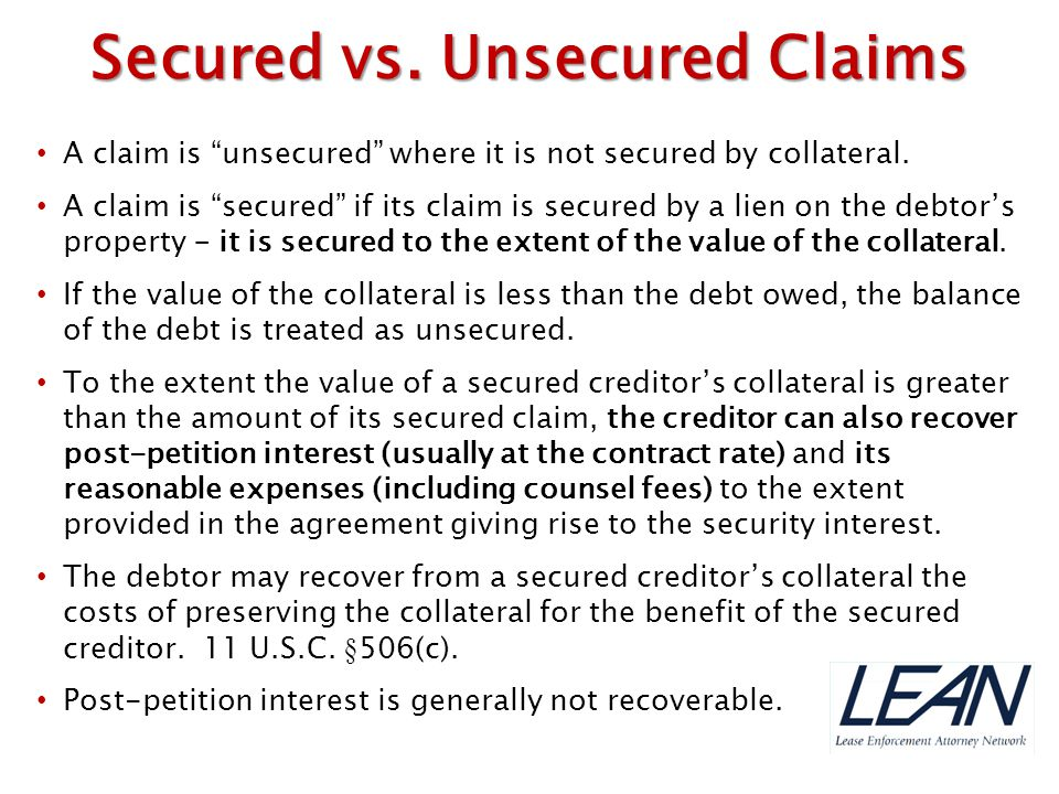 Secured vs. Unsecured Claims