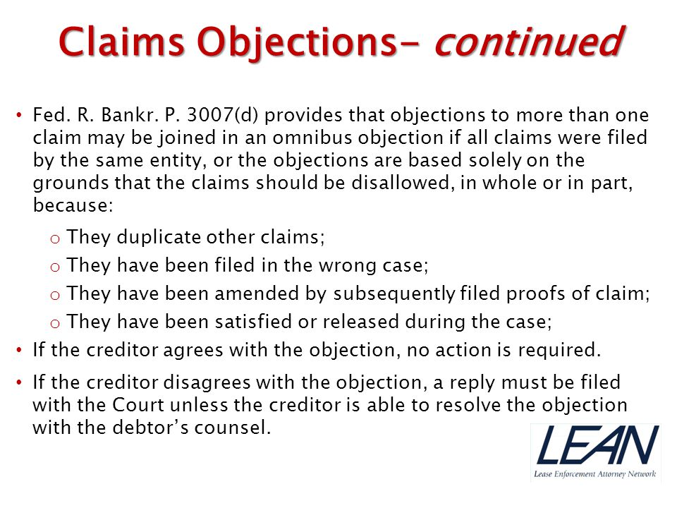 Claims Objections- continued