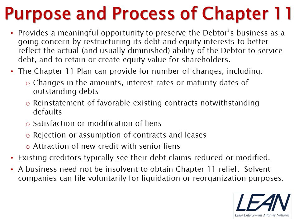 Purpose and Process of Chapter 11