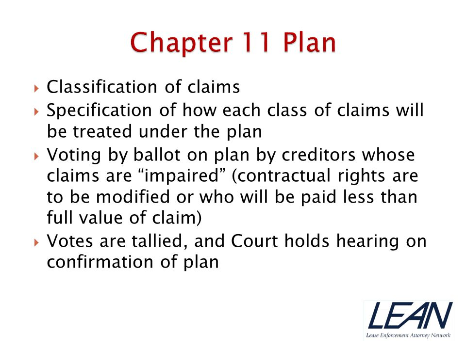 Chapter 11 Plan Classification of claims