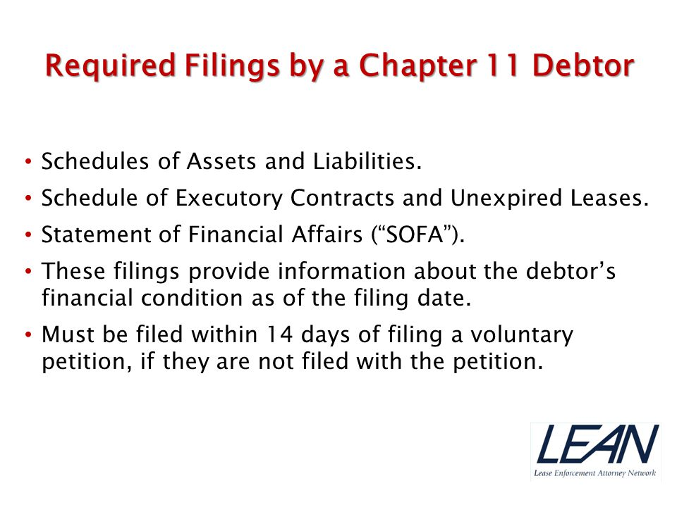 Required Filings by a Chapter 11 Debtor