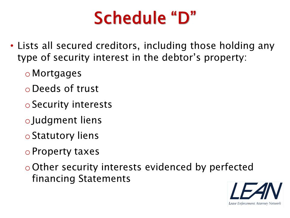 Schedule D Lists all secured creditors, including those holding any type of security interest in the debtor's property: