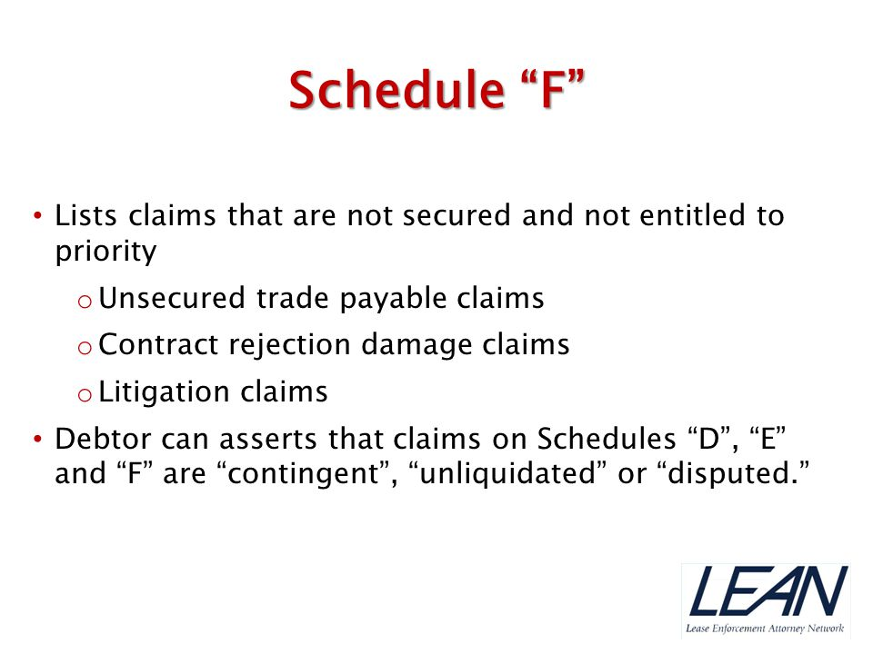 Schedule F Lists claims that are not secured and not entitled to priority. Unsecured trade payable claims.