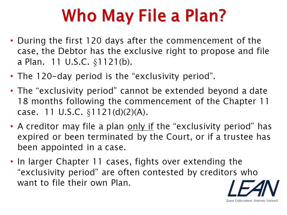 Who May File a Plan