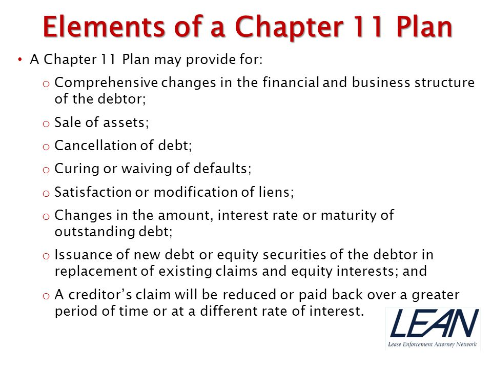 Elements of a Chapter 11 Plan