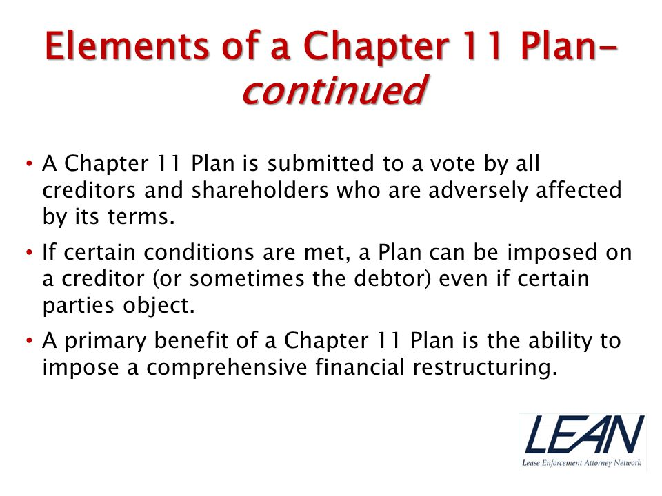 Elements of a Chapter 11 Plan- continued