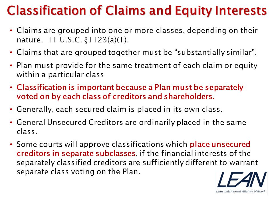 Classification of Claims and Equity Interests