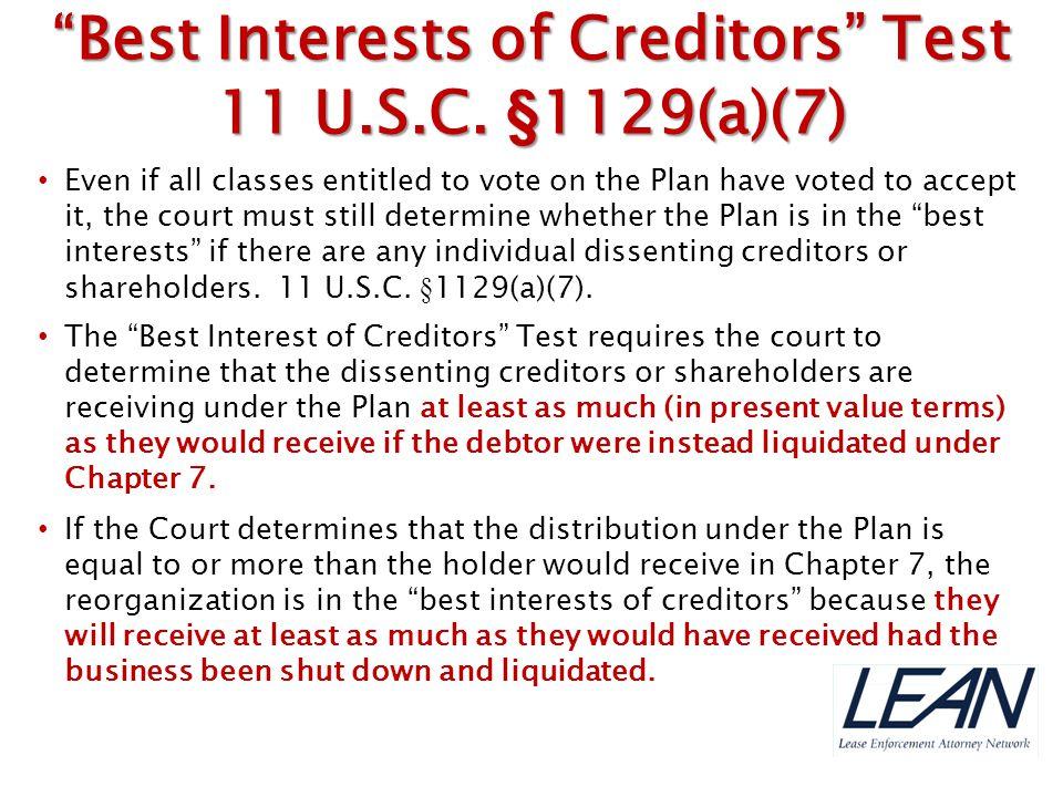 Best Interests of Creditors Test