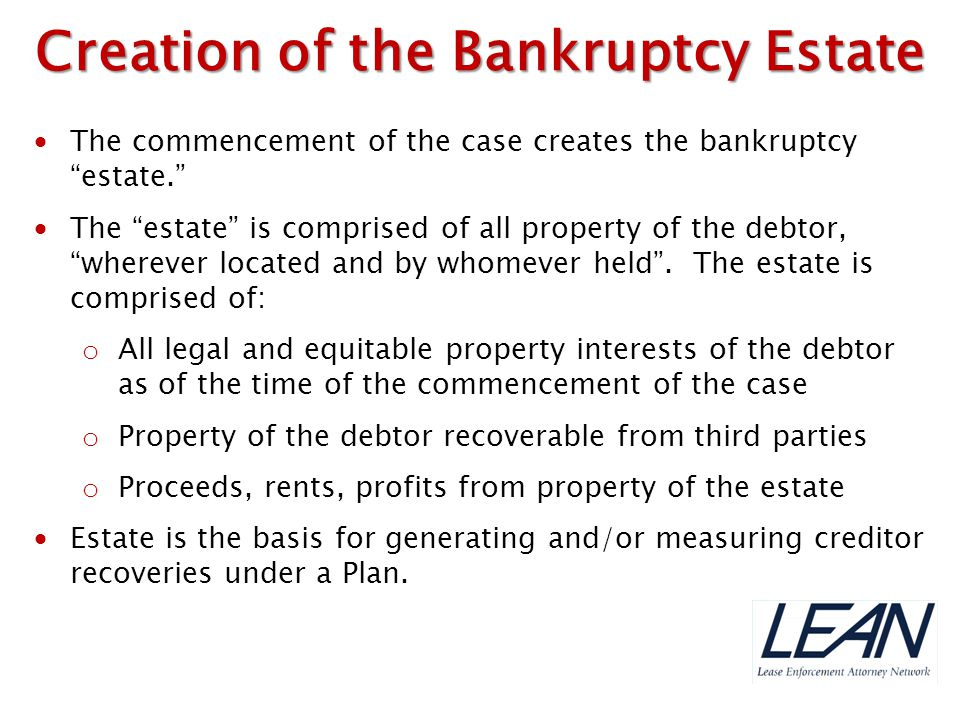 Creation of the Bankruptcy Estate
