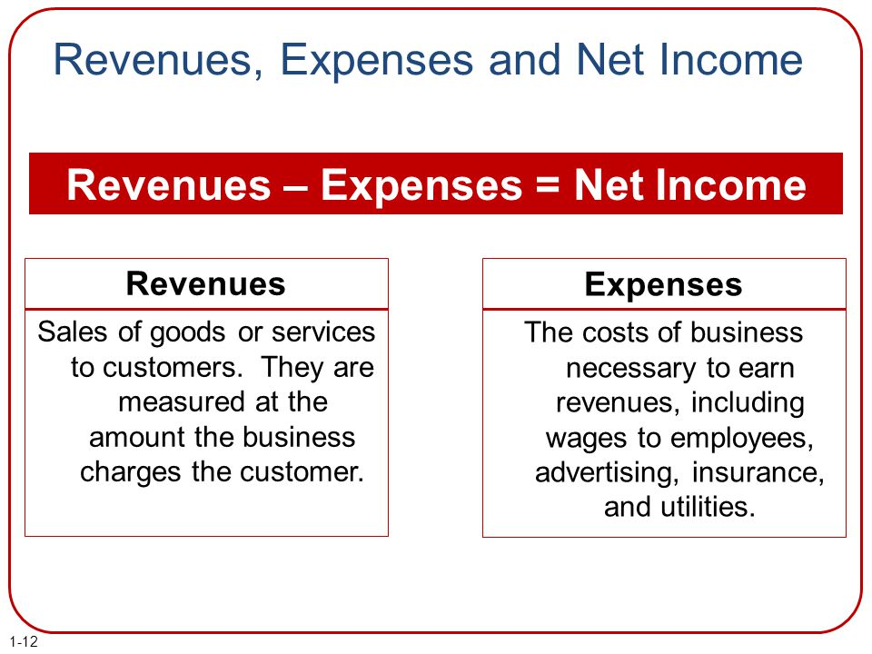 Revenues, Expenses and Net Income